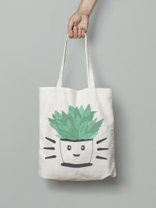 tote bag, design, plante, raccoon