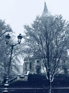 Snow on Paris, Paris, neige , church, eglise
