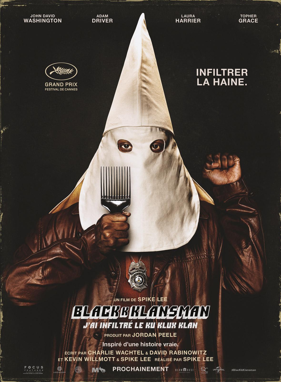 BLACKkKLANSMAN ; ku klux klan ; film ; histoire vraie ; infiltrer la haine ; spire les
